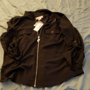 Womans black Micheal Kors half zip blouse